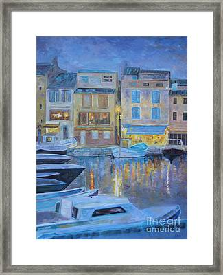 Portofino At Dusk Framed Print by Barbara Lynn Dunn