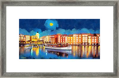 Portofino By Night Framed Print by George Rossidis