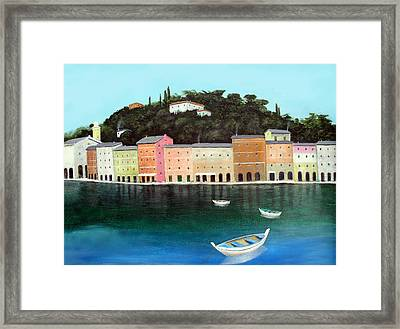 Framed Print featuring the painting Portofino By The Sea by Larry Cirigliano