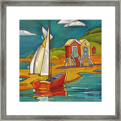 Portofino Cabanas Framed Print by Paul Brent