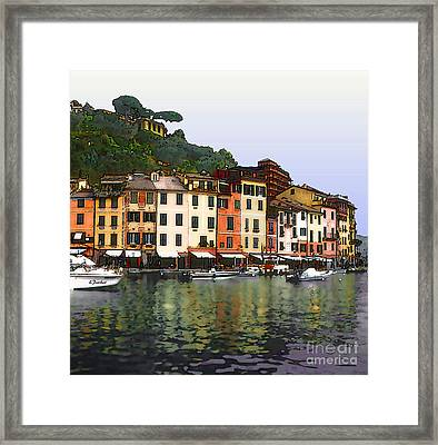 Portofino Harbor Framed Print by Linda  Parker