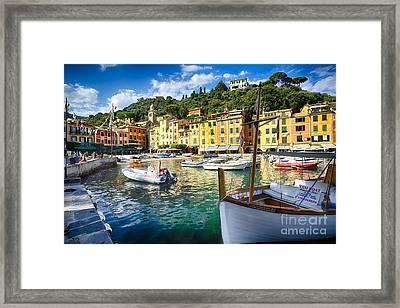Portofino Inner Harbor Framed Print by George Oze