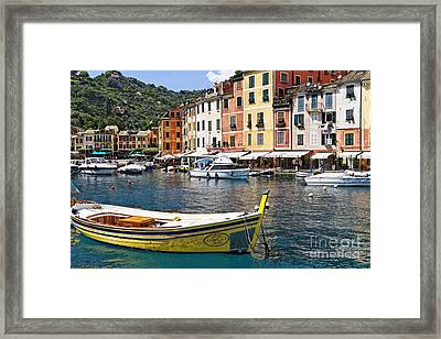 Portofino Inner Harbor View With Small Boats Framed Print