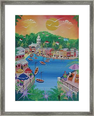 Portofino, Italy, 2012 Acrylic On Canvas Framed Print by Herbert Hofer