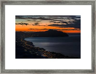 Portofino Mount And Paradise Gulf Sunrise - Alba Su Portofino E Golfo Paradiso Framed Print by Enrico Pelos
