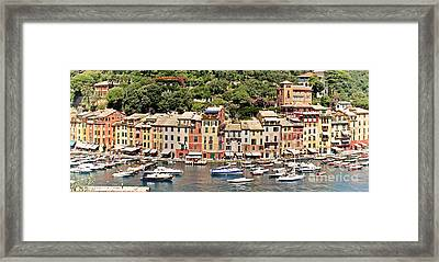 Portofino Panorama Framed Print by Kate McKenna