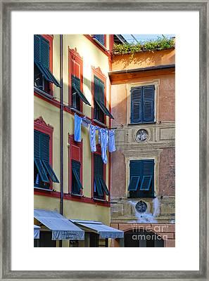 Portofino Street Still Framed Print by George Oze