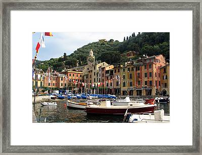 Portofino's Colorful Harbor Framed Print by Carla Parris
