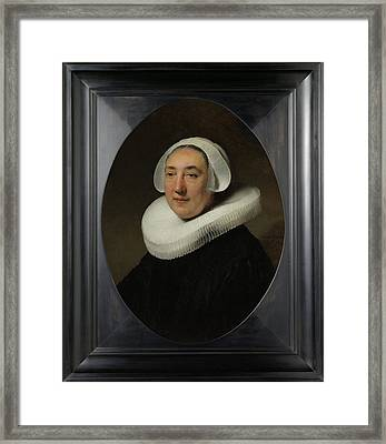 Portrair Of Haesje Jacobsdr Van Cleyburg Framed Print by Litz Collection