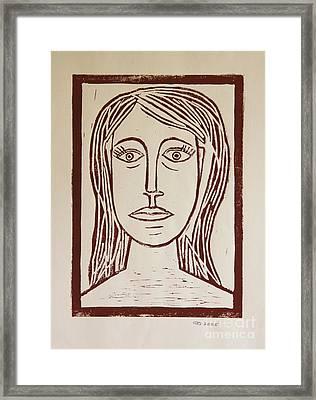 Portrait A La Picasso - Block Print Framed Print