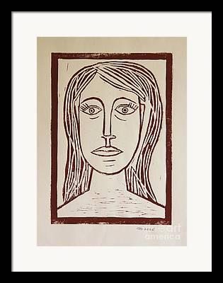 Lino Cut Portrait Framed Prints