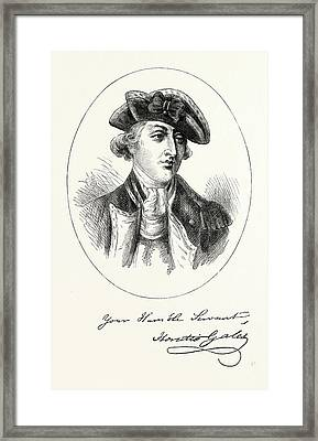 Portrait And Autograph Of General Horatio Gates Framed Print