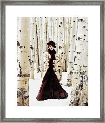 Karen Elson Models Gaultier Framed Print by Arthur Elgort