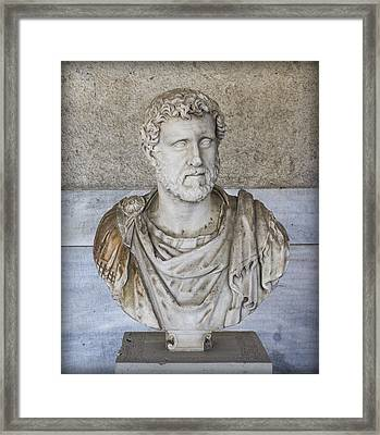 Portrait Bust Of The Emperor Antoninus Plus Framed Print by Radoslav Nedelchev