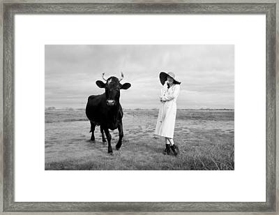 Portrait Bw Cow And Girl Framed Print