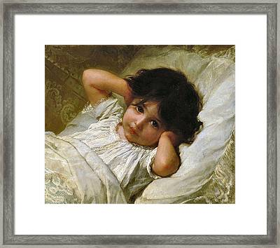 Portrait De Marie-louise  Framed Print by Emile Munier