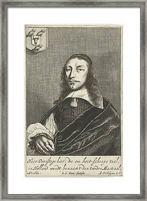 Portrait Dortse Poet Cornelis Van Overstege, Dordrecht Framed Print