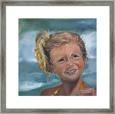 Portrait - Emma - Beach Framed Print by Jan Dappen