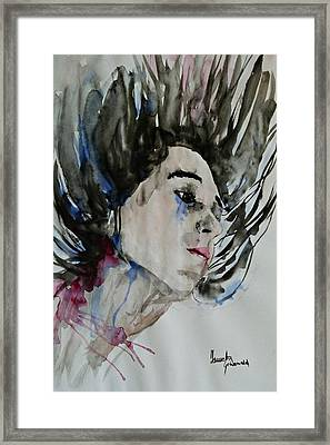 Framed Print featuring the painting Portrait- Girl by Ismeta Gruenwald