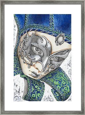 Portrait In Blue Venetian Mask - Venice - Acryl - Elena Yakubovich Framed Print