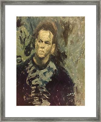 Portrait Matt Damon Jason Bourne Movie Framed Print by MendyZ