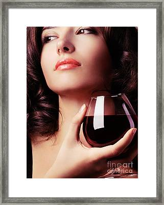 Portrait Of A Beautiful Woman With Glass Of Wine Framed Print by Oleksiy Maksymenko