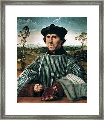 Portrait Of A Canon Framed Print by Quentin Matsys