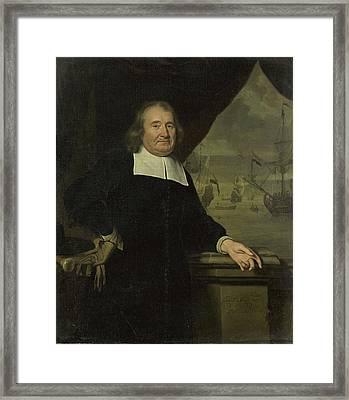 Portrait Of A Captain Or Ship-owner, Michiel Van Musscher Framed Print