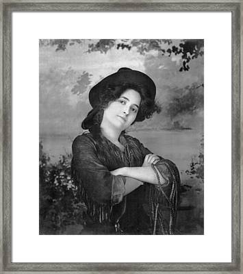 Portrait Of A Cowgirl Framed Print by Underwood Archives