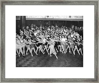 Portrait Of A Dance Group Framed Print by Underwood Archives