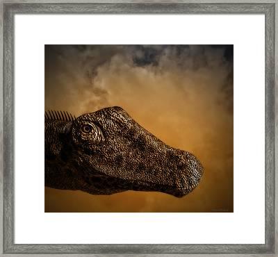 Portrait Of A Diplodocus Framed Print by Ramon Martinez