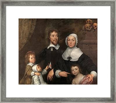 Portrait Of A Family, Probably That Of Richard Streatfeild Framed Print