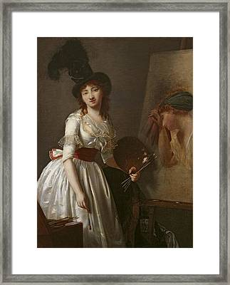 Portrait Of A Female Painter, Pupil Of David Oil On Canvas Framed Print by Aimee Duvivier