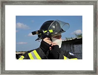 Portrait Of A Fire Fighte Framed Print