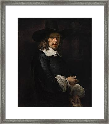 Portrait Of A Gentleman With A Tall Hat And Gloves Framed Print