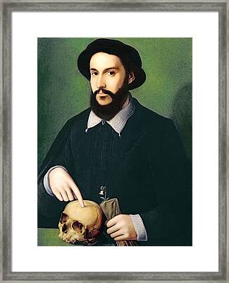 Portrait Of A Gentleman With His Right Framed Print by Master of the 1540s