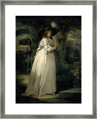 Portrait Of A Girl In A Garden Variety Portrait Of Anna Framed Print by Litz Collection