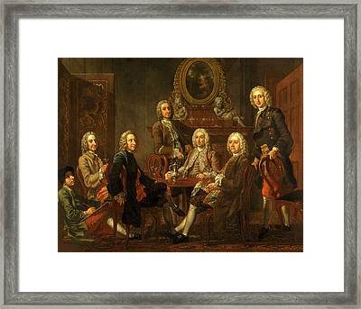Portrait Of A Group Of Gentleman, With The Artist Framed Print