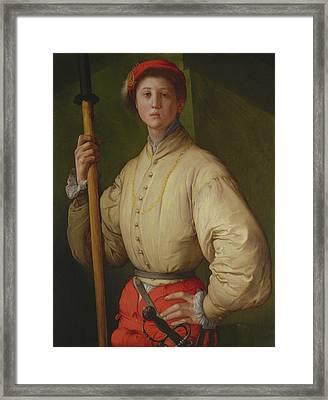 Portrait Of A Halberdier Francesco Guardi Pontormo Jacopo Framed Print by Litz Collection