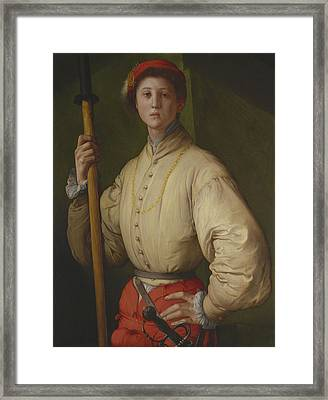 Portrait Of A Halberdier Possibly Francesco Guardi C.1528-30 Oil On Panel Framed Print by Jacopo Pontormo