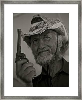 Portrait Of A Joyful Gunslinger . Viewed 244 Times  Framed Print by  Andrzej Goszcz