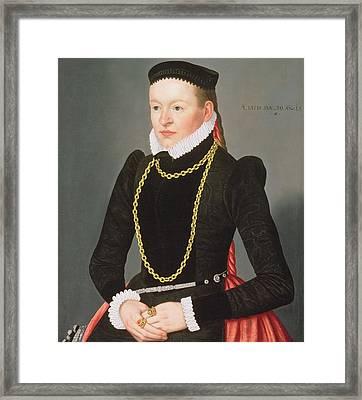 Portrait Of A Lady, C.1585 Framed Print by Lorenz Strauch