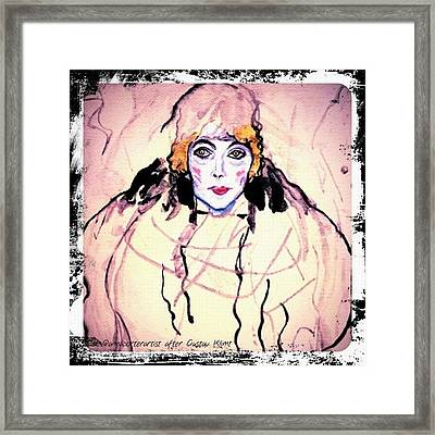 Portrait Of A Lady En Face After Gustav Klimt Framed Print
