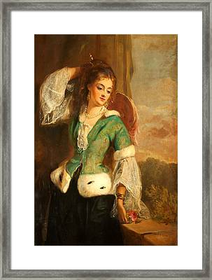 Portrait Of A Lady In A Green Jacket Framed Print by Philip Richard Morris
