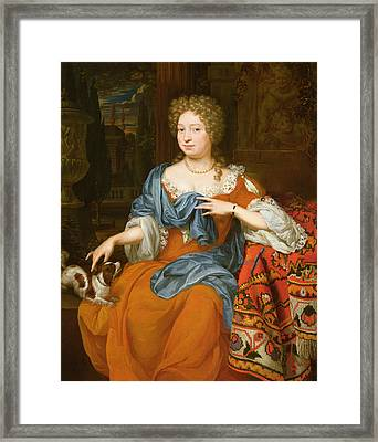 Portrait Of A Lady In A Red Dress, 1691 Framed Print