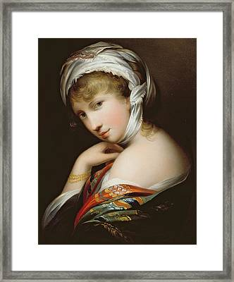 Portrait Of A Lady In Eastern Dress Framed Print by English School