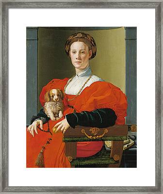 Portrait Of A Lady With A Lapdog Framed Print