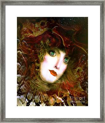 Portrait Of A Lady With A Red Hat Framed Print by Doris Wood