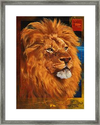 Portrait Of A Lion Framed Print by Dragan Petrovic Pavle