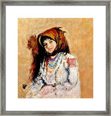Portrait Of A Little Peasant Girl.. Framed Print